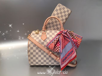 Louis Vuitton Damier Azur Speedy Bandouliere 30 & Zippy, Louis Vuitton Damier Aquarelle Bandeau in Chili Red
