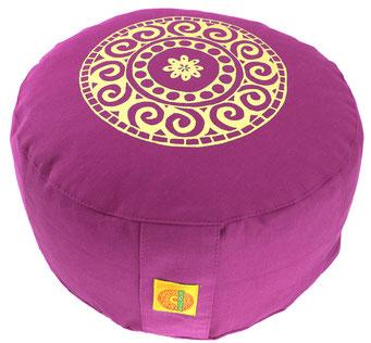 """Meditationskissen Zafu Gr.L """"Mandala"""" rotviolett"""
