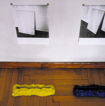 Art-show, 1988, plasticine, photocopies, site specific, Contemporary Art Gallery Collegio Cairoli, Pavia