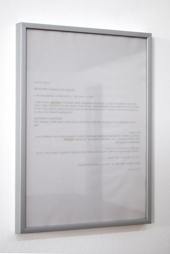 Metastabile grafematico, 2013, tracing paper sheets on ink-jet on paper, 23x33.CASABIANCA, Bologna, 2013, curated by Massimo Marchetti