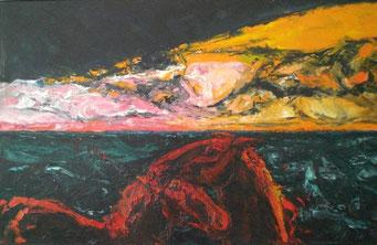 Titel: Sonnenuntergang am Meer, Maße: 160x100cm, Jahr: 2000