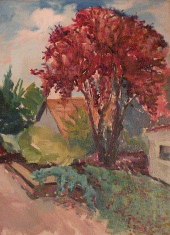 Titel: Kirschbaum, Maße: 80x60cm, Jahr: 1990