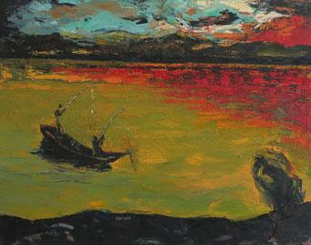 Titel:  Stilles Gewässer, Maße: 100x80cm, Jahr: 2003