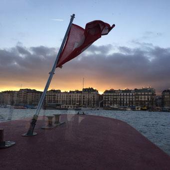 brûlantes Eaux-Vives… lever de soleil depuis la mouette | janvier 2017