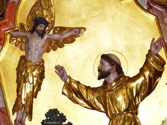 Hl. Franziskus empfängt die Stigmata durch Christus auf dem Berg Alverna