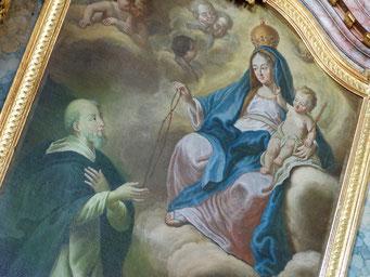 """Altarbild """"Überreichung des Rosenkranzes an den Hl. Dominikus"""" von 1670"""