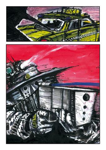 """#20# Planche originale T-1 """" Année 2011 - Encre de chine, acrylique, pastels a l'huile, crayon, feutre sur papier - Format 27,5x30"""