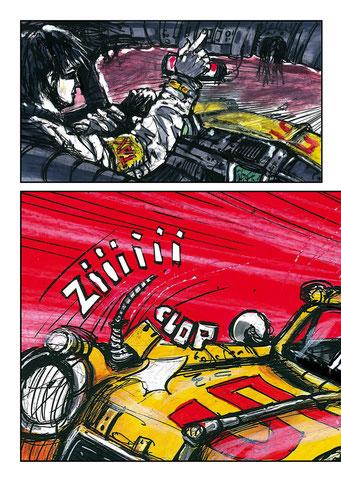 """#27# Planche originale T-1 """" Année 2011 - Encre de chine, acrylique, pastels a l'huile, crayon, feutre sur papier - Format 26x31,5"""
