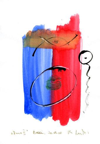 """""""Anna II"""" Werkverzeichnis 3.177 / datiert Boddin, den 20.09.00 / Tusche und Aquarell auf Papier / Maße b 21,0 cm * h 29,7 cm"""