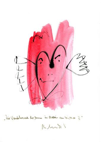 """""""Die Wanderherzseele der Anna in Boddin am 20.09.00 II"""" Werkverzeichnis 3.179 / datiert Boddin, den 20.09.00 / Tusche und Aquarell auf Papier / Maße b 21,0 cm * h 29,7 cm"""