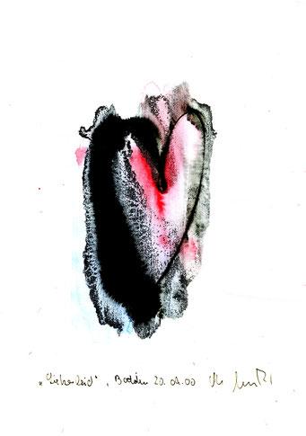 """""""Liebesleid"""" Werkverzeichnis 3.182 / datiert Boddin, 20.09.00 / Tusche und Aquarell auf Papier / Maße b 21,0 cm * h 29,7 cm"""