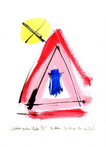 """Anna-Inspiration: """"Verkehrszeichen Liebe"""" III, Werkverzeichnis 3.205 / Boddin, 21.09.00 / Tusche und Aquarell auf Papier / Maße b 21,0 cm"""