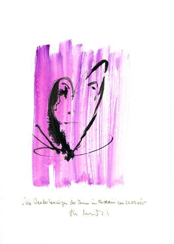 """""""Die Wanderherzaugen der Anna in Boddin am 20.09.00 I"""" Werkverzeichnis 3.178 / datiert Boddin, den 20.09.00 / Tusche und Aquarell auf Papier / Maße b 21,0 cm * h 29,7 cm"""
