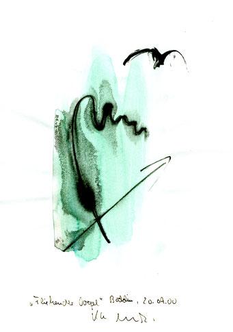 """""""Fliehender Vogel"""" Werkverzeichnis 3.181 / datiert Boddin, 20.09.00 / Tusche und Aquarell auf Papier / Maße b 21,0 cm * h 29,7 cm"""