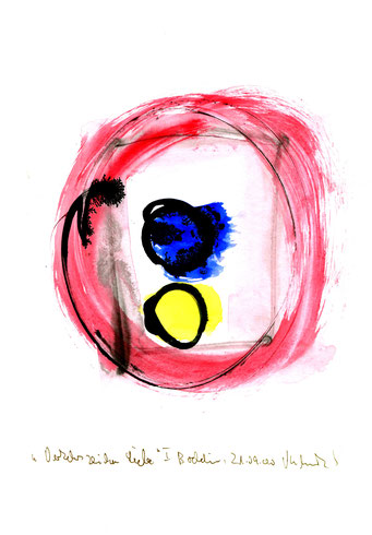 """Anna-Inspiration: """"Verkehrszeichen Liebe"""" I, Werkverzeichnis 3.203 / Boddin, 21.09.00 / Tusche und Aquarell auf Papier / Maße b 21,0 cm"""