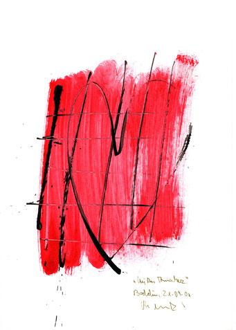 """""""Heißes Annaherz"""" Werkverzeichnis 3.206 / datiert Boddin, 21.09.00 / Tusche und Aquarell auf Papier / Maße b 21,0 cm * h 29,7 cm"""