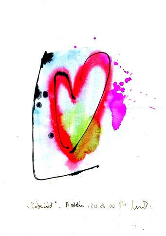 """""""Liebeslied"""" Werkverzeichnis 3.180 / datiert Boddin, 20.09.00 / Tusche und Aquarell auf Papier / Maße b 21,0 cm * h 29,7 cm"""