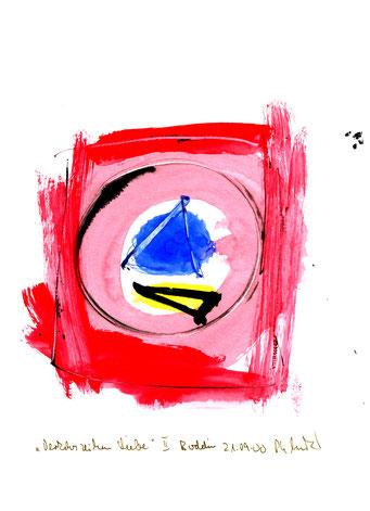 """Anna-Inspiration: """"Verkehrszeichen Liebe"""" II, Werkverzeichnis 3.204 / Boddin, 21.09.00 / Tusche und Aquarell auf Papier / Maße b 21,0 cm"""