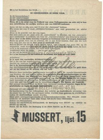 NSB Affiche: Tweede Kamerverkiezingen 26 mei 1937 6.2