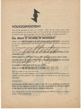 NSB Affiche: Tweede Kamerverkiezingen 26 mei 1937 5.1