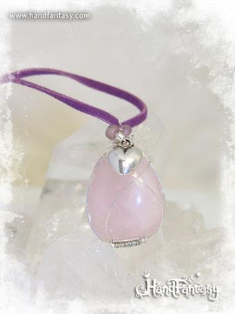 Colgante Cuarzo rosa, Piedra preciosa rosa, Colgantes de cuarzo, Collar Cuarzo rosa