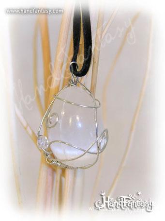 Colgante Selenita, Piedra blanca, Colgante piedra Selenita, collar de Selenita, Colgantes de Selenita, piedra de Selenita, Collar de Selenita
