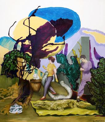 Auskundschaften, 2016, Öl auf Leinwand, 140 x 120 cm