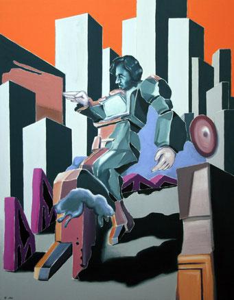 Klotz am Bein, 2018, Öl auf Leinwand, 90 x 70 cm
