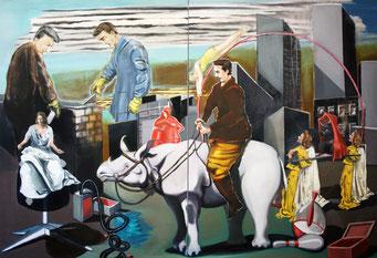 Zirkus, 2019, Öl auf Leinwand, 150 x 220 cm