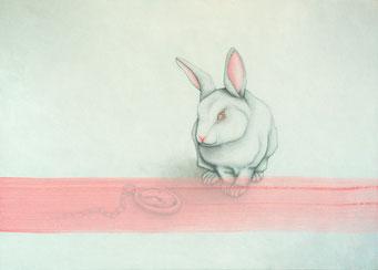 Lapin Blanc aux yeux roses _ Acrylique sur toile 50X70cm. 2014.