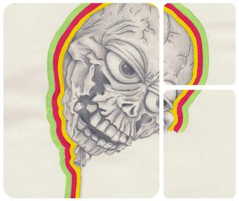 Démon _ Acrylique et crayon de bois sur carnet de croquis 29,7X21cm, 2012.