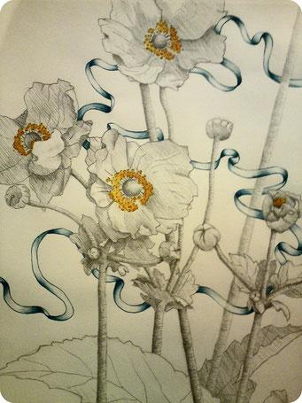Anémone _ Crayon de bois et acrylique sur carnet de croquis 24X32cm, 2013.