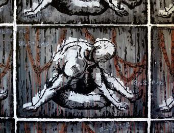 le poids des chaines _ Acrylique sur toile 90X116 cm, 2010.