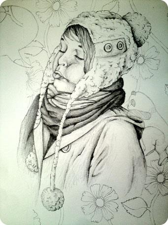 Marie (1) _ Crayons de bois sur carnet de croquis 24X32cm, 2013.