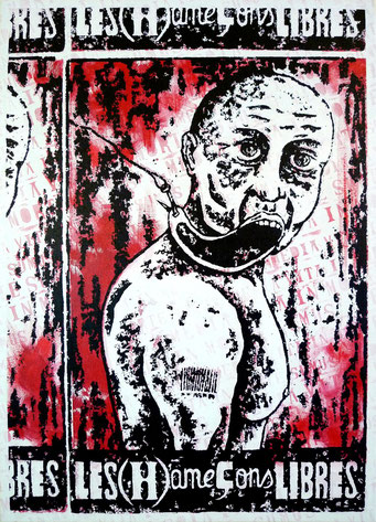 Les (Â)me ç ons libres _ Acrylique sur toile 70X50 cm, 2010. (vendu)