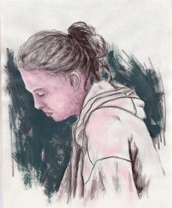 Adeline _ Crayon et Acrylique sur carnet de croquis 24X32cm, 2014.