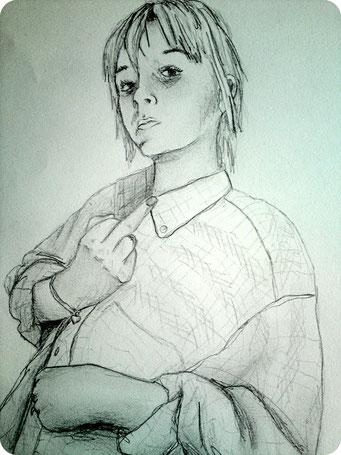Marie (2) _ Crayons de bois sur carnet de croquis 24X32cm, 2013.