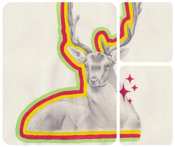 Daim _ Acrylique et crayon de bois sur carnet de croquis 29,7X21cm, 2012.