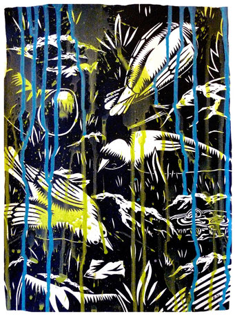 à l'absurde 04 _ Acrylique sur papier 32X24 cm, 2010.