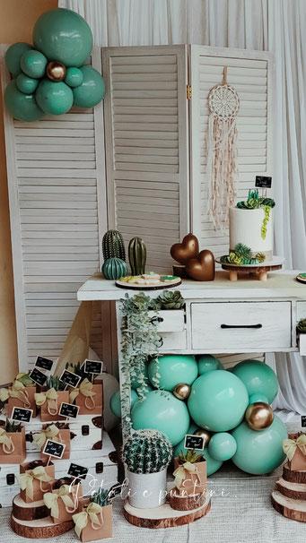 allestimento baby shower piantine grasse palloncini verdi torta natural chic