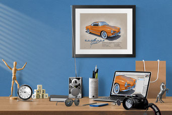Here is the 1970-1972 Karmann Ghia drawing in a nice decorative context of a home office