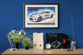 Here is the 2017 Camaro SS INDY 500 Official Vehicle drawn portrait in a home office decorative context