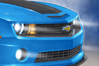 Light beams and radiator in the front grill are added to the 16X24 inch version of the drawn portrait