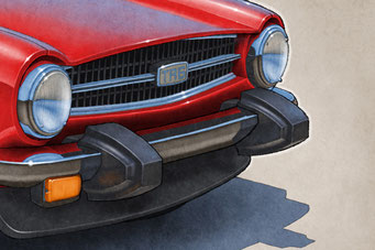 """The 1970-1976 model years Triumph TR6 drawing shows a detailed front end and blue sky reflection on the bodywork on the 16""""X20"""" printed drawing"""
