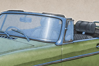 The 1970-1972 model years MGB Roadster drawing shows the interior in all it's factory details