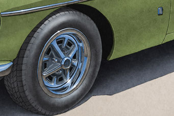 Tire treads and wheels are drawn with details on the MGB Vintage Looking Drawing.