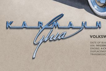 The Karmann Ghia lettering decorative rear hood emblem add authenticity to the drawing that will please owners of this car