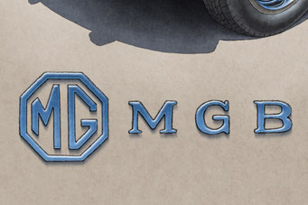 The MGB lettering and decorative trunk emblem add authenticity to the drawing that will please owners of this car