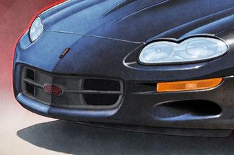 """Une option du format 14""""X21"""" et 16""""X24"""" est d'avoir un effet de réflection du ciel bleu sur la carrosserie."""