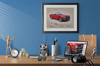 Here is the 1970-1976 Triumph TR6 drawing in a nice decorative context of a home office
